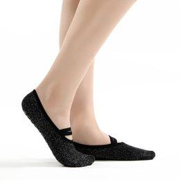 Wholesale thick black socks women - Free DHL Silver Massage Yoga Socks Backless Ballet Dance Socks Women Non-Slip Sole Grip Thick Fitness Socks For Pilates 4 Style G519S