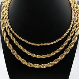 Wholesale 18K Real Good Plated Twist Cadena de cuerda para mujeres hombres MM Cadena de oro collar de acero inoxidable pulgadas fabricante de producción al por mayor