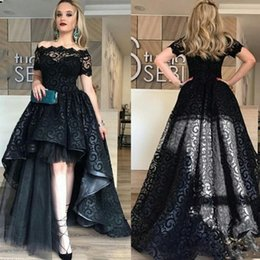 Wholesale Low Quality T Shirts - Elegant Black Full Lace High Low Prom Dress Off Shoulder Short Sleeves Evening Gowns High Quality Fashion Party Gown Custom Made