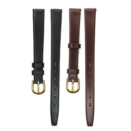 Wholesale Thin Leather Watch For Women - 10mm 12mm Genuine Leather Watchband Real Leather Watch Band Thin Watch Strap for Hour for Women Men Gold Buckle Stainless Steel