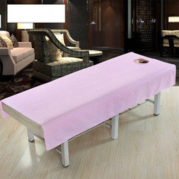 beauty bedding Coupons - Cotton Massage Table Cloth Bed Cover Sheet Beauty Salon Spa Bed Cover Sheet with Face Hole Pure Color zk30