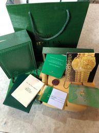 Wholesale modern men fashion - New Men Fashion Women Ladies Wristwatch Boxes Swiss Brand Men green Watch Box and Paper For Watches rolex