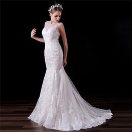 Vestidos de noiva imagens de trem longo on-line-Imagem Real Sereia Vestidos de Casamento Para Beleza Meninas Longo Lvory Tribunal Trem Apliques De Renda Personalizado Vestidos de Noiva DH4194
