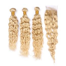 Canada 613 # Blond Indien Vierge Cheveux Humains Weave Bundles Eau Vague Extensions de Trame De Cheveux avec Blond Dentelle Avant Fermeture 4x4 Humide et Ondulé supplier weft human hair 613 wavy Offre