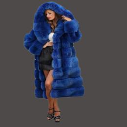 Wholesale blue fur coat hood women - Fur jacket new 2017 imported imitation mink fox fox coat coat blue cross stripe gorgeous abundance new fur woman