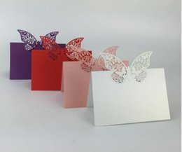 Wholesale butterfly card decorations - Laser Cut Butterfly Table Name Place Card Setting Wedding Party Supplies