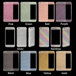 Wholesale Mirror Gold Vinyl Wrap - Rainbow Glitter Sticker for iPhone 6 6s 8 7 plus Colorful Full Body Rise Gold Skin Vinyl Wrap Sticker Bling White Black Matte Front Back