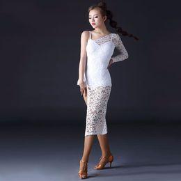 b07a901284e 2018 Latin Dancing Dress Skirt Split Vestidos De Baile Latino Salsa  One-Shoulder Design Dancewear Women Salsa Tango Skirts Q3149