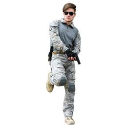 kampfanzug armee Rabatt Tactical Suit Armee Hosen Jacke mit Kniepolster Ellenbogenschutz Spezialeinheiten Uniform Jäger Camouflage Combat Sets
