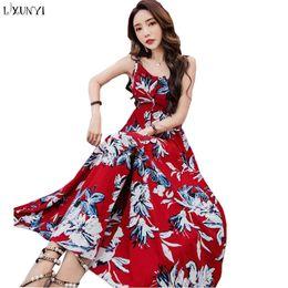 cbe26737bc0 sexy backless korean dress Coupons - LXUNYI Women Summer Sexy Maxi Dress  Backless Flower Print Bohemia