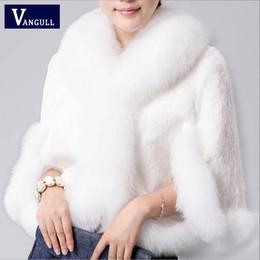 Wholesale Fox Mink Coats - 2017 New Fur Faux Coat Mink Hair Rex Rabbit Hair Cape Jacket Black White Fur Overcoat Imitation Rabbit Faux Fox Collar XXXL