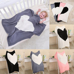 Wholesale Swaddling Wraps - Loving Heart Baby Blanket Warm Knitted Baby Bedding Wrap 100*78cm Soft Blankets Girls Blankets Newborn Swaddling OOA3975