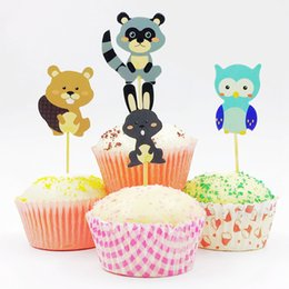 720 unids Little Animal Mapache Owl Field Mouse Bear Rabbit Topper Kids Birthday Party Baby Shower Cup Cake Decoration Conejito de Pascua desde fabricantes