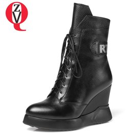 774cf464e2d4 ZVQ 2018 winter new fashion pointed toe high quality genuine leather shoes  women high wedges platform cross-tied ankle boots