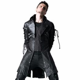 Abrigos largos para hombres de estilo retro gótico de imitación de cuero Steampunk Uniforme militar Otoño Invierno Punk Chaqueta Moda Abrigos ocasionales desde fabricantes