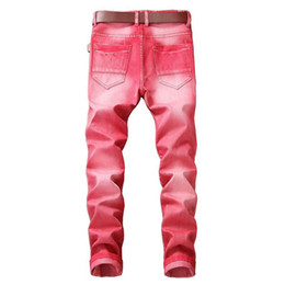Wholesale Color Skinny Jeans For Men - DANT BULUN Multi Color Men's Jeans Biker Pleated Motorcycle Slim Skinny Ripped Red Gray Casual Denim Pants For Man Size 29-42