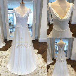 Wholesale Ultimate Models - ultimate chic and effortless wedding dress cowl neck drapes beautifully bridal gowns circle skirt perfect floating elegantly lace cap sleeve
