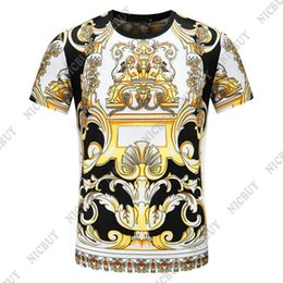 Wholesale flower print tee - 2018 tie-dyed spring Summer luxury Brand tshirt designer medusa geometry flower color print Men casual women t-shirt shirts tee top