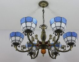 2018 Blaue Glas Kronleuchterlampe Kostenloser Versand Kronleuchter Lampen  Tiffany Stil Blau / Gelb Glasmalerei Meditteranean