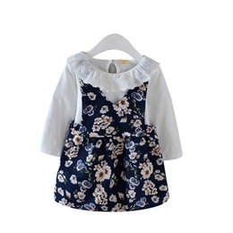 Wholesale Sling Shirts - Fashion Children Girl Clothing Sets 2018 Spring Summer Baby T-shirt Sling Dress 2 Pcs sets Pure Cotton Print Kids Casual Clothes