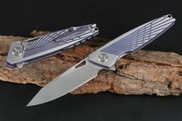 cuchillos plegables para exteriores de mango azul Rebajas Cuchillo plegable Flipper azul M390 Cuchillo satinado CNC TC4 Cuchillo Titanium Cuchillo de bolsillo EDC al aire libre Cuchillos de bolsillo EDC Gear