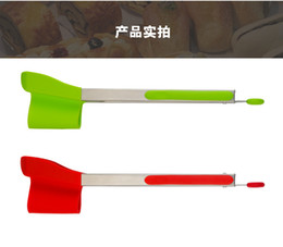 Wholesale food smart - Clever Tongs 2-in-1 Kitchen Spatula Tongs Non-stick Heat Resistant Stainless Steel Dishwasher Safe Kitchen Smart Food Clip
