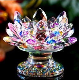 Recuerdos de cristal para la boda online-110 mm feng shui cristal de cuarzo flor de loto artesanía de vidrio pisapapeles adornos figurines casa boda fiesta decoración regalo recuerdo