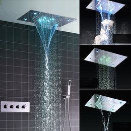 Wholesale Color Change Shower - Shower System Double Waterfall Rainfall Large Ceiling LED Rain Shower Head Recessed Automatic Color Change Thermostatic Tap Shower Set