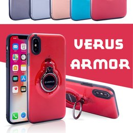Wholesale Case Iphone Verus - Shockproof Kickstand Verus Case For iPhone X 360 Degree Spinning Kickstand Cover Transparent Armor Case For iPhone X 8 Plus 7 6 6S MOQ:50pc