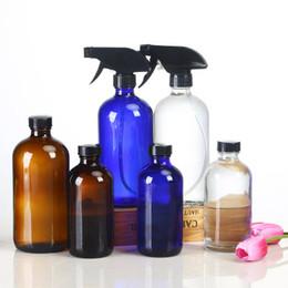 Vaporisateur d'huile essentielle en Ligne-Récipient réutilisable en verre de 16 oz contenant des bouteilles rechargeables Boston Round pour des huiles essentielles, nettoyant bleu ambre transparent