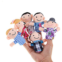 Wholesale little girls toys - 6pcs Mini Plush Baby Toy Finger Family Puppets Set Boys Girls 6pcs Funny Finger Puppet Prefect Gifts for Little Kids