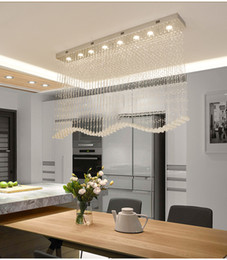 Argentina Lámparas de cristal de la onda moderna de lujo que encienden la lámpara de techo cristalina de la gota de lluvia K9 para el comedor L39.4 * W7.9 * H39.4 pulgadas Suministro