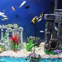 Wholesale Action Figure Design - Aquarium Ornament Decoration Sea Treasure Hunter Diver Action Figure Fish Tank Aquarium Landscape Unique Design Decor