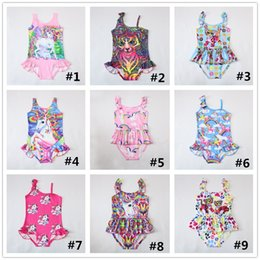Wholesale big tiger - INS Unicorn Swimwear One Piece Tiger Swimsuit Bikini Big Kids Summer Cartoon Infant Swim Bathing Suits Beachwear 12 design LC738