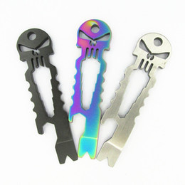 Wholesale hot keychain tools - Outdoor Gadgets Stainless EDC Survival Pocket Tool Keychain Crowbar Multi Function Creative Skull Bottle Opener Wrench Hot Sale 10hk WW