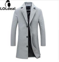 Cappotto di lana dei nuovi uomini Loldeal tinta unita Cappotto di risvolto Slim lungo paragrafo maschile Abiti di business giacca casual da uomo 4XL 5XL da