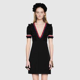 4d69934e4154 Brand Designer Women Black Shirt Dresses 2018 Summer Autumn Lady Flounced V Neck  Short Sleeve Zipper Pearl Button Party Cocktail Dresses