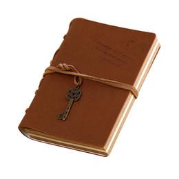 vintage buchkette Rabatt Vintage Magie und Schlüsselanhänger Retro PU Leder Reise Tagebuch Notebook Travel Memo Buch Kaffee