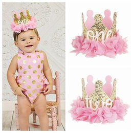 fuentes del partido del oro rosado Rebajas 2018 gold crown birthday party supplies baby diademas para niñas flores de gasa head band kid pink accesorios para el cabello one two hairband de dos letras