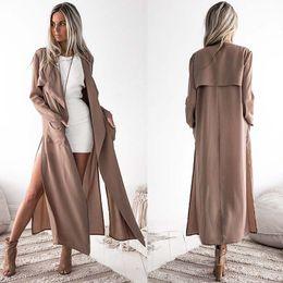 Тонкая женская траншея онлайн-Autumn Women Casual Long Trench Turn-down Collar Elegant Slim Trench Coat Ladies Business Khaki Long Coat Thin Outwear 6Q2116