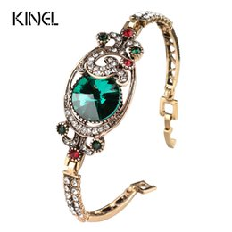 Wholesale Turkish Link Gold - Luxury Vintage Green Satellites Bangles Antique Gold Color Colorful Crystal Turkish Bracelets For Women Bijouterie 2017 New