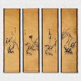 Dipinti inchiostro online-Imitazione cinese antichi dipinti Calligrafia, scorrimento di calligrafia, schermo di scorrimento quattro, collezione ,, Imitazione Qi Baishi Ink Shrimp