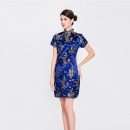 chinese women dress sexy Promo Codes - Chinese Style Lady Blue Qipao Dragon&Phoenix Women Cheongsam Vintage Mandarin Collar Dresses Sexy Slim Dress Oversized S-6XL