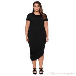 Plus size summer dress Solid color Short Sleeve Asymmetrical Hem Dress  Casual Loose Party Shift Office Dress CL461 cf95e42c204f