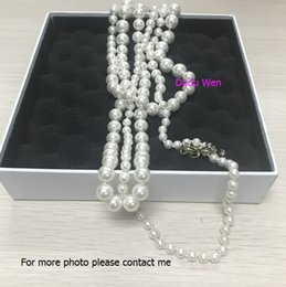 Wholesale C Fashion Necklace - Top quality Luxury pearl necklace for women Pendant necklace for wedding jewelry Fashion symbol C stamp long necklaces party gift