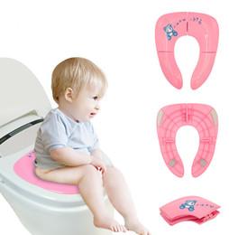 Wholesale Plastic Seat Cushions - Whosale 10set Baby Travel Folding Potty Seat toddler portable Toilet Training seat children urinal cushion children pot chair pad  mat