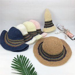 f4334d5f7b7 2018 New Summer women s hat Khaki folding straw Handhook fisherman s hat  casual Wide Brim Hats sunshade sunshade straw hat