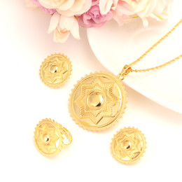 Wholesale Golden Ring Women - 22 k Solid Gold Filled star polka dot Jewelry Set Habesha Eritrean Women Wedding Fashion Ring earrings pendant