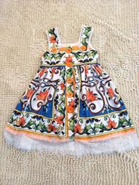 Wholesale novelty vintage dress - INS Girl Princess Dress Vintage Flower Printed off shoulder Style Summer Lantern Sleeve lace Dress Kids Elegant Dress NEW Arrival
