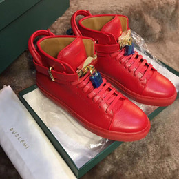 Wholesale Calf Height Boots - Free shipping fashion men's sneakers white red black real calf leather flats lace up high top boots real leather come with dustbag and box